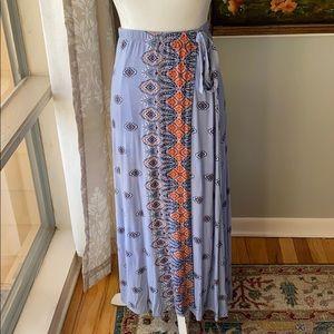 Loveappella Boho Faux Wrap Maxi Skirt